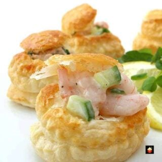 Shrimp or Salmon Vol Au Vents, Mini Puff Pastry Cups