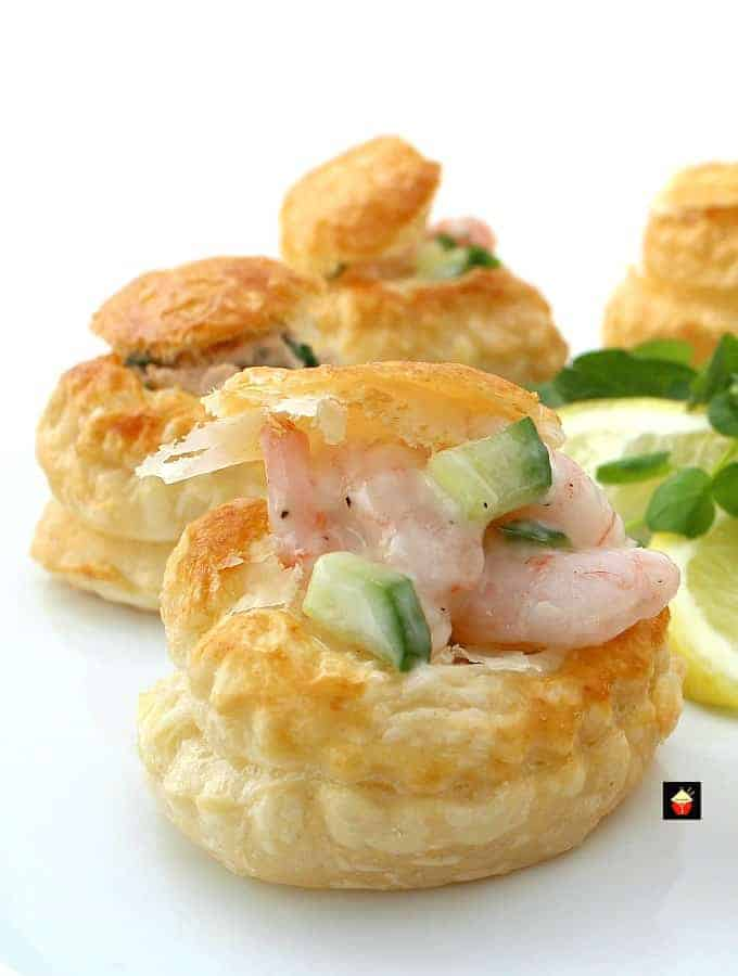 Shrimp Or Salmon Vol Au Vents Mini Puff Pastry Cups
