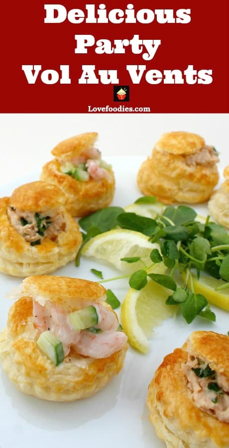 Delicious Shrimp or Salmon Vol Au Vents, Mini Puff Pastry Cups are very easy to make and great for parties as canapes, appetizers, and snacks. Perfect to make ahead too!