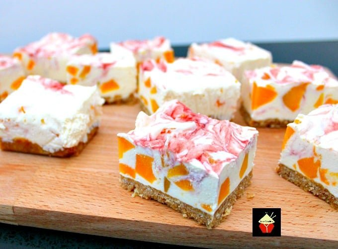 Easy Peach Cheesecake With Raspberry Swirl A Delicious No