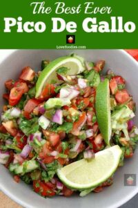 Best Ever Pico De Gallo, Salsa Fresca, a delicious Mexican salsa, quick and easy to make with refreshing flavors of lime, jalapenos, tomatoes, and cilantro. Absolutely delicious!