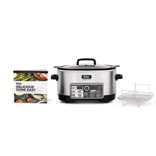 Ninja Auto-iQ Multi/Slow Cooker with 80-Pre-Programmed Auto-iQ Recipes for Searing, Slow Cooking, Baking and Steaming with 6-Quart Nonstick Pot (CS960)
