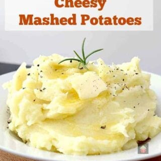 Creamy Cheesy Mashed Potatoes is a very easy side dish with amazing flavor. Make ahead, freezer friendly and great for a weeknight dinner or Thanksgiving too!