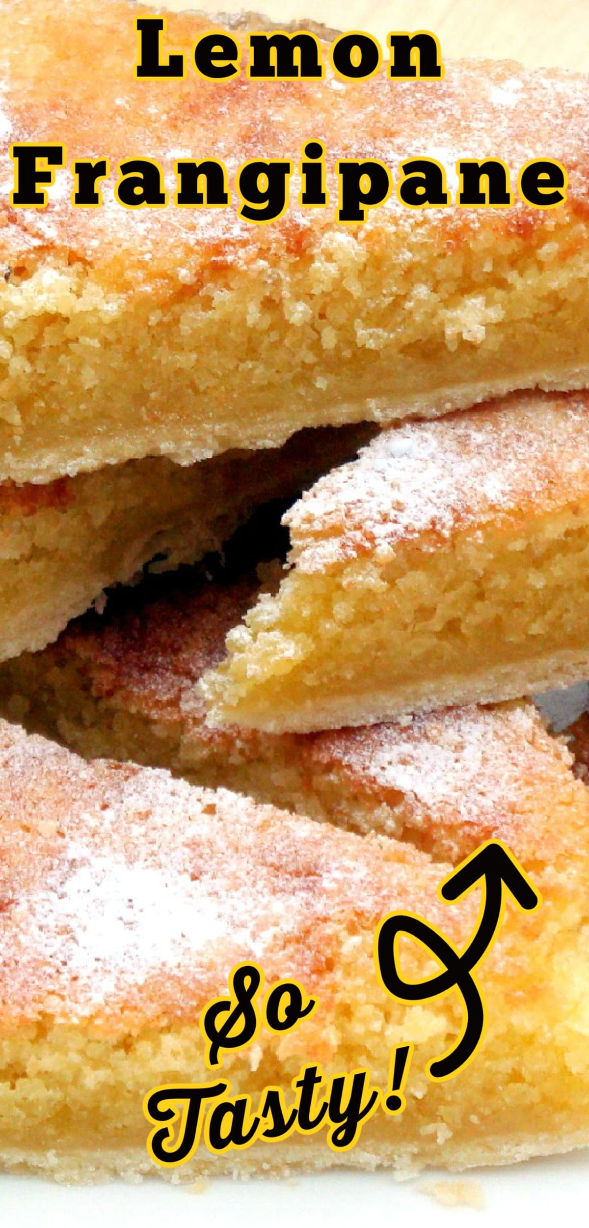 Lemon Frangipane. This is a really nice coffee time cake to make. Goes great with a nice cup of tea! Or you can have as a dessert, warm or cold with a squirt of whipped cream or like me, a blob of vanilla ice cream! It's really yummy! Delicious!