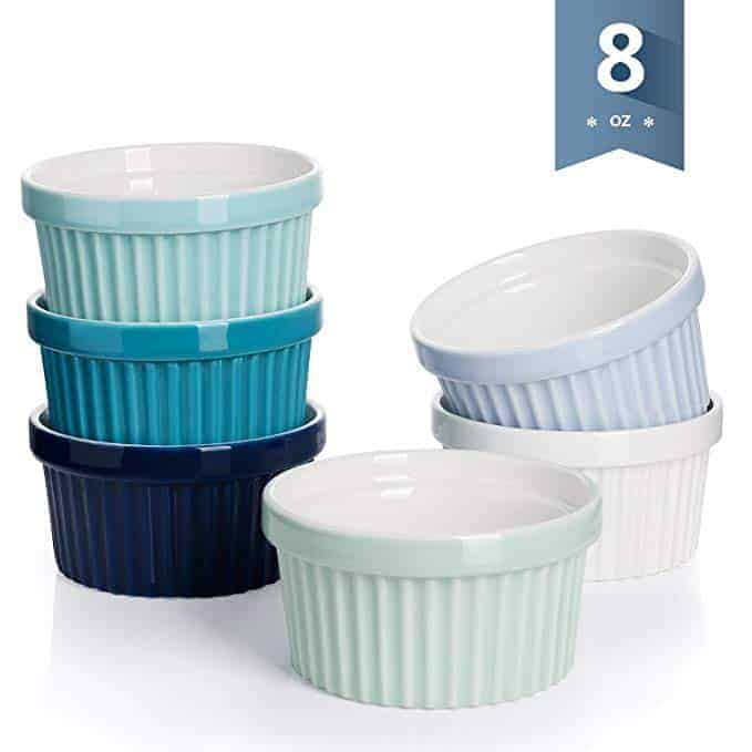 Sweese 5112 Porcelain Souffle Dishes, Ramekins - 8 Ounce for Souffle, Creme Brulee and Ice Cream - Set of 6, Cold Assorted Colors