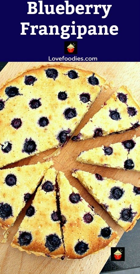 Blueberry Frangipane. A delicious almond cake bursting with juicy blueberries. This is a really nice coffee time cake to make.
