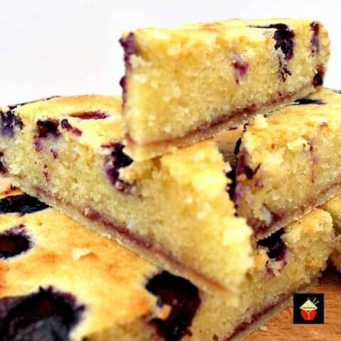 Blueberry Frangipane. This is a really nice coffee time cake to make. Goes great with a nice cup of tea! Or you can have as a dessert, warm or cold with a squirt of whipped cream or like me, a blob of vanilla ice cream! It's really yummy! Delicious!