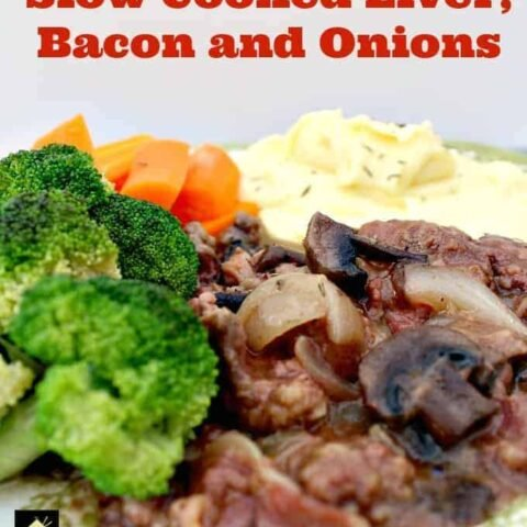 Old Fashioned Slow Cooked Liver, Bacon and Onions. Meltingly soft, tender pieces of liver cooked in a delicious onion gravy with the bonus of bacon thrown in too! Options to use stove top, slow cooker or oven. You choose!