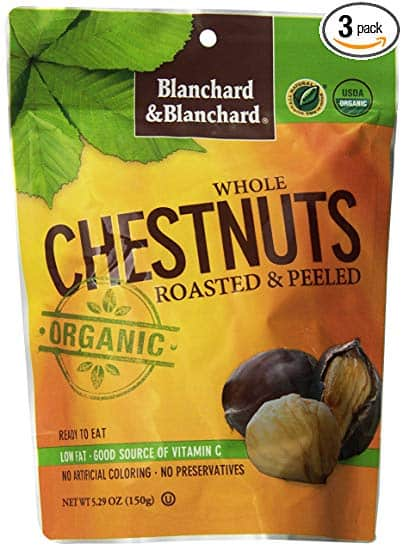 Whole Chestnuts Roasted & Peeled (Organic) 5.29 OZ PACK OF 3