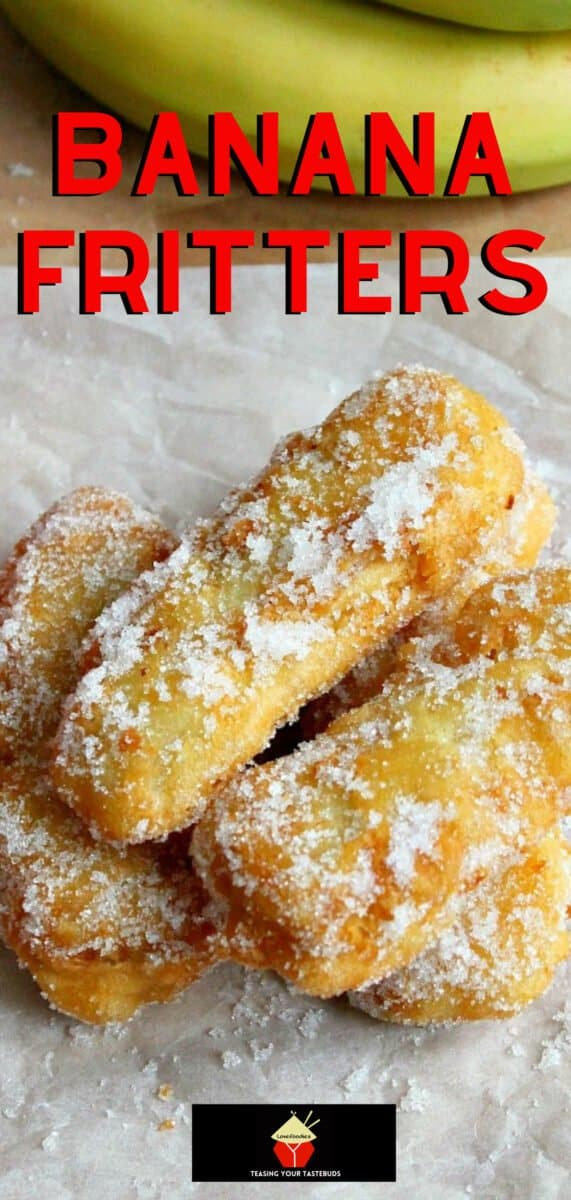 Banana Fritters. These are a lovely crispy treat, serve warm as they are or with some syrup drizzled over or a blob of ice cream! A great way to use up spare or leftover bananas too! Really quick and easy to make dessert.