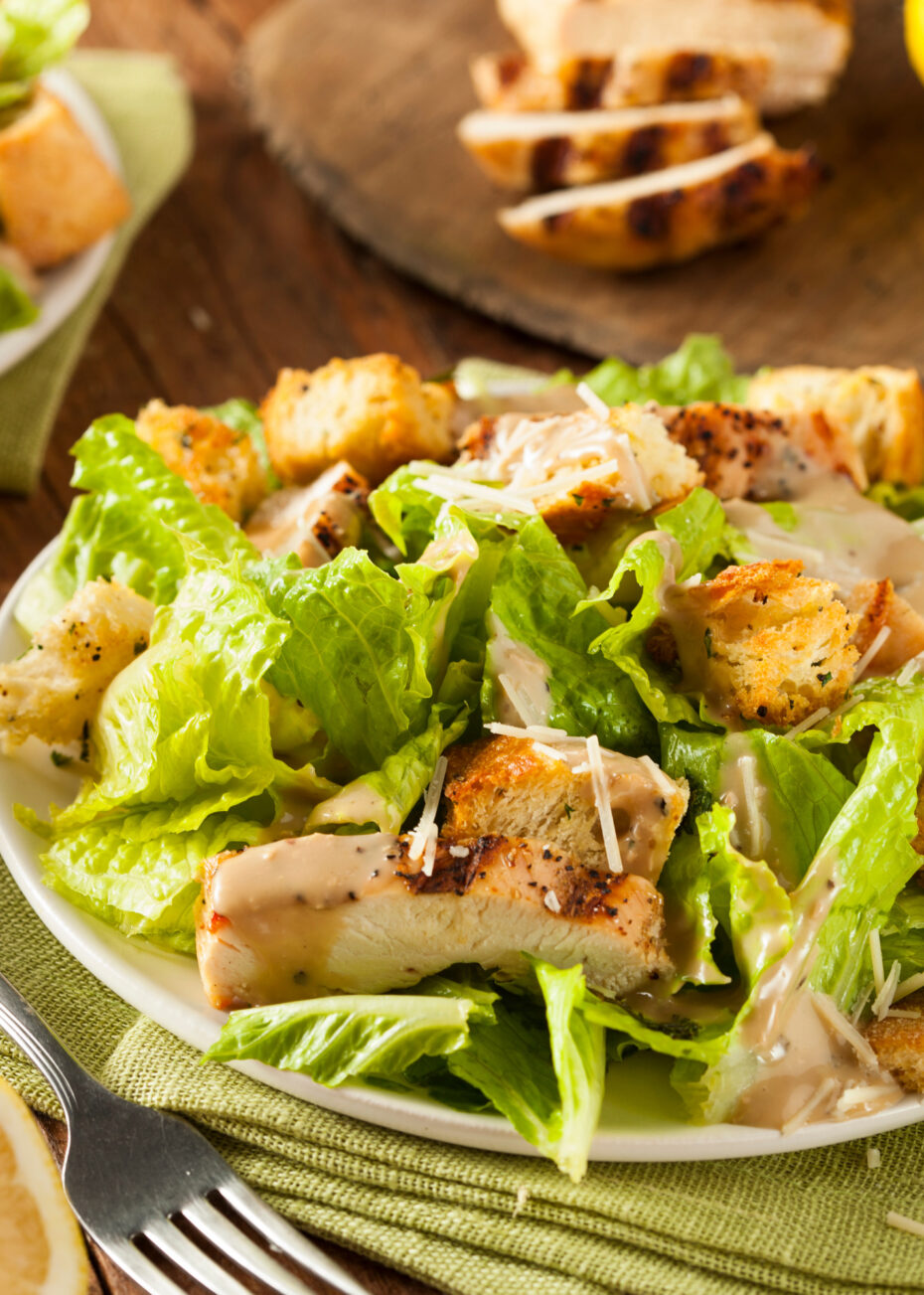 Chicken Caesar Salad is a refreshing and wonderful tasting dish, made from scratch and easy too! Options for low calorie if you prefer.