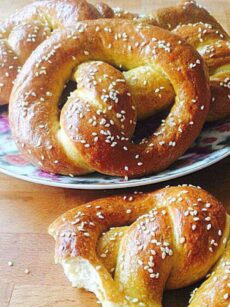 Easy Pretzels. These are delicious and easy to make. You can add sweet or savory toppings, such as a chocolate coating or melted cheese, very flexible! Great party food!