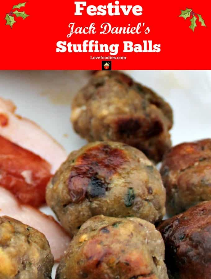 Festive Jack Daniel's Stuffing Balls, a perfect snack, appetizer or side to your Thanksgiving or Christmas menu. Juicy pork, flavored with Jack Daniel's, cranberry and chestnuts to give you a lovely Festive feeling.