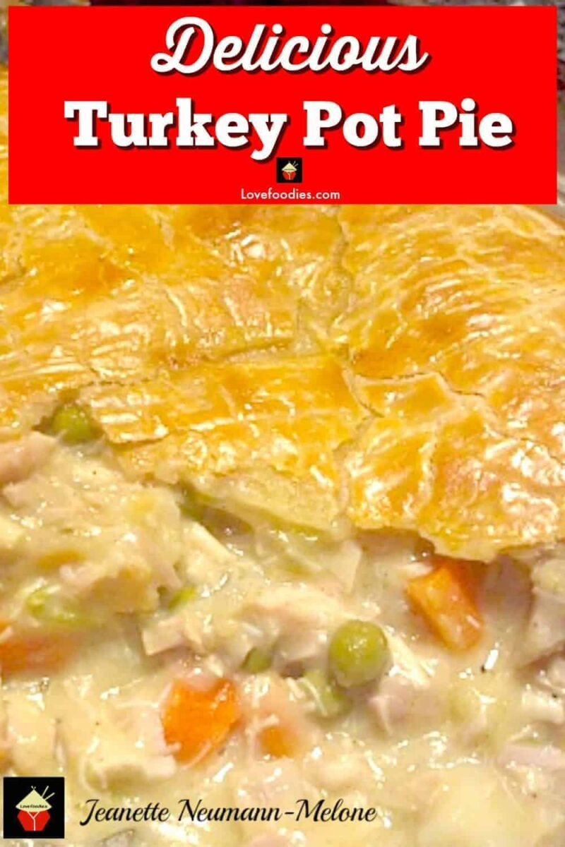 DELICIOUS Turkey Pot Pie, Look at that pie crust! I would also make this using chicken and ham together, a great combo! Oh my! Plus perfect for using up leftover turkey!