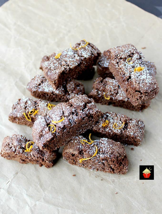 Double Chocolate and Orange Biscotti are lovely little Italian cookies perfect for having with a cup of coffee. Easy to make, and make perfect gifts too!