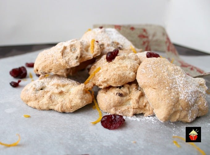 Amaretti Style Cranberry and Orange Almond Cookies. These amaretti-style cookies use minimal flour and have a light airy finish, fit to accompany desserts and drinks light as a feather and fat-free too!