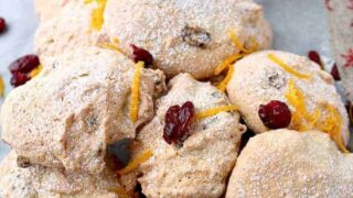 Amaretti Style Cranberry and Orange Almond Cookies