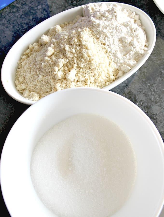 Fluffy Amaretti Style Lemon Almond CookiesShowing ingredients