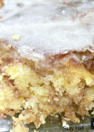 Honey Bun Cake! This is a delicious, moist cinnamon and brown sugar cake, and always popular with the family!