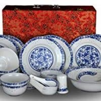 28-piece Bone China Blue and White Dinnerware Set Service for 6 Rice Bowl Set Jingdezhen, (blue lotus)