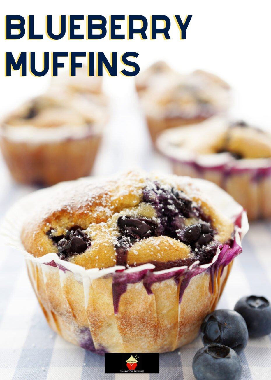 Blueberry Muffins. An easy breakfast muffin recipe, using fresh blueberries and regular pantry ingredients. Not overly sweet and great served warm for breakfast