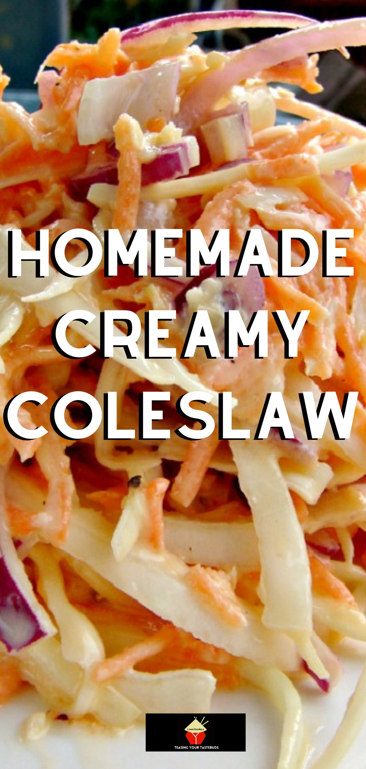 Homemade Creamy Coleslaw, a delicious low-fat salad option to a popular side dish, using fresh ingredients. Ideal for BBQ's, parties and burgers!