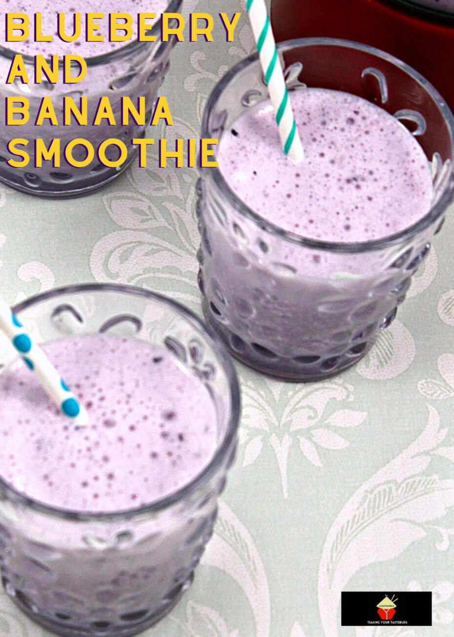 Refreshing Blueberry and Banana Smoothie is a perfect start to your day. Quick & easy recipe using fresh ingredients. Takes minutes to make and seconds to blitz