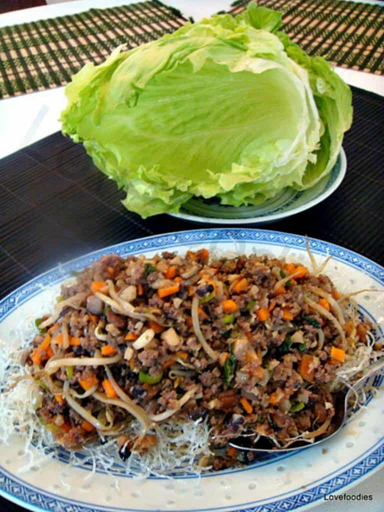 Yuk Sung, Chinese Lettuce Wraps. Inside each lettuce leaf is a little pile of treasures! A great dish to serve as a starter or at parties