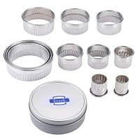 Round Biscuit Cutter Set Fluted Edge with rolled top ends, 11pcs Circle Pastry Cutters for Scones, Pastries, Baking, Desserts, Muffins, Fondant -Tin Storage Box (Scalloped Edge)