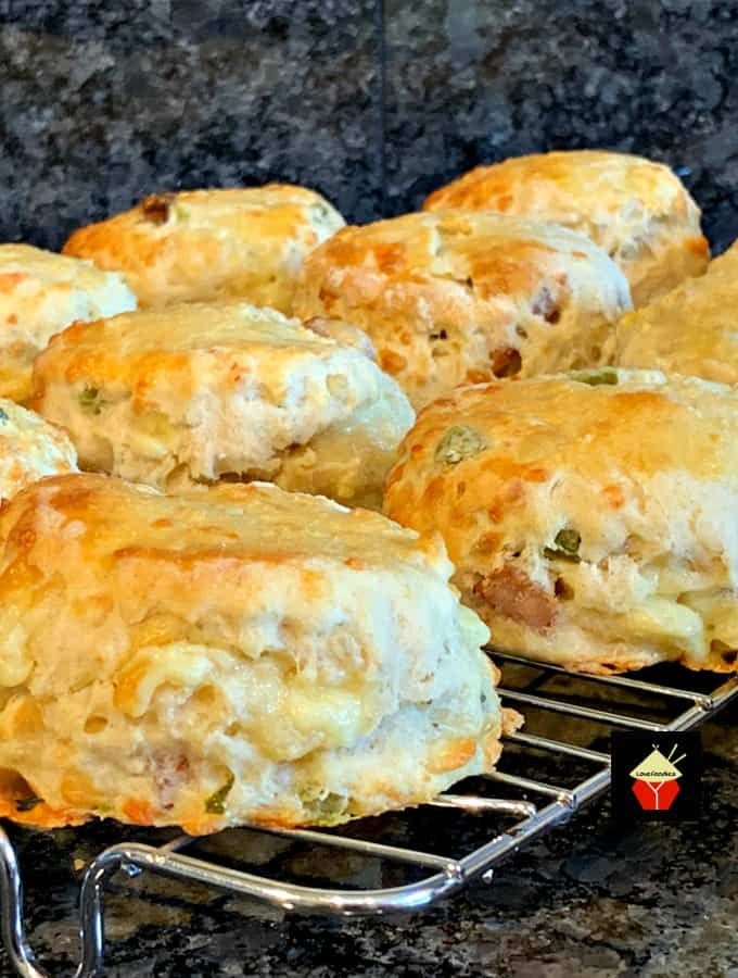 Cheesy Sausage and Jalapeno Scones or Biscuits are so light and fluffy! Perfect for breakfast, brunch, dinner, picnics and parties. Freezer friendly too!