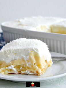 Dreamy Coconut and Pineapple Dessert. Layers of creamy smooth homemade coconut pudding, pineapple on a bed of pineapple-infused lady's fingers & covered with a dreamy whipped cream topping.