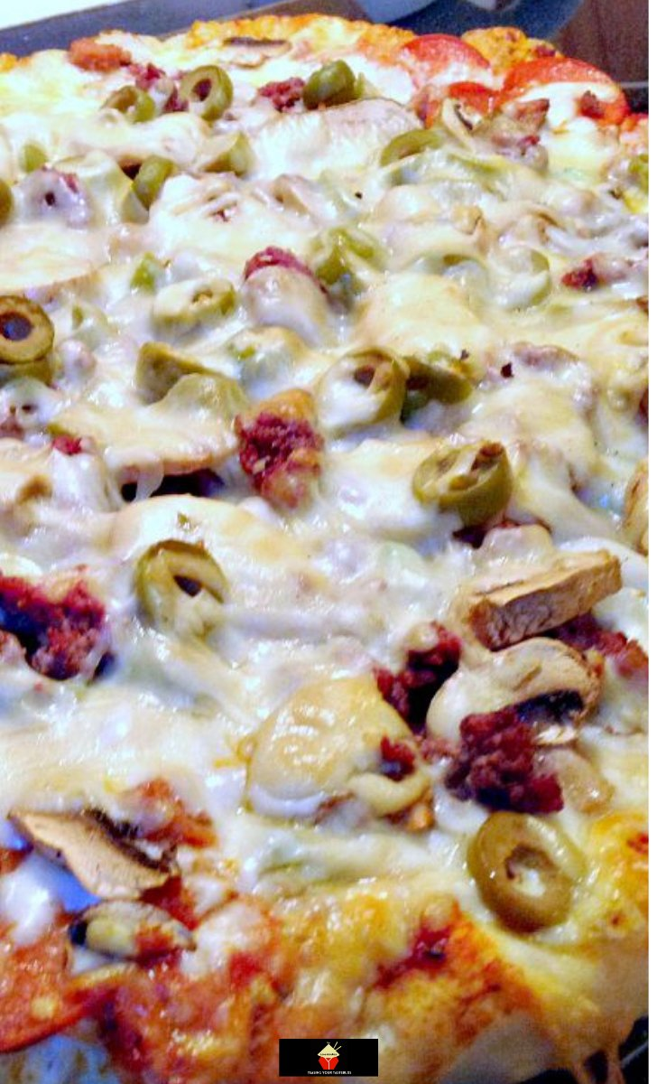 Home Made Monster Pizza Recipe. A great recipe for home made pizza dough, pizza sauce and a variety of toppings. Best pizza dough ever! Once you've tried the dough recipe you won't use any other!