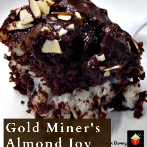 Gold Miner's Almond Joy Cake. A super moist, delicious, and rich cake. Loaded with chocolate, marshmallows, coconut, almonds. An amazing cake and perfect for parties!