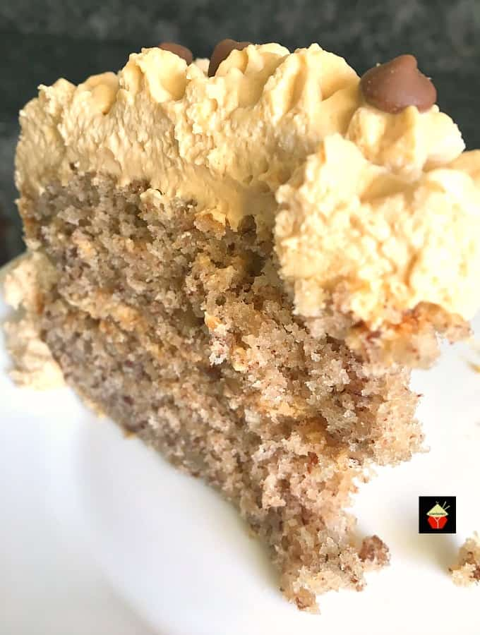 Pecan Cake With Salted Caramel Frosting is an easy recipe giving you a soft, fluffy cake and a creamy frosting, perfect for any celebration!