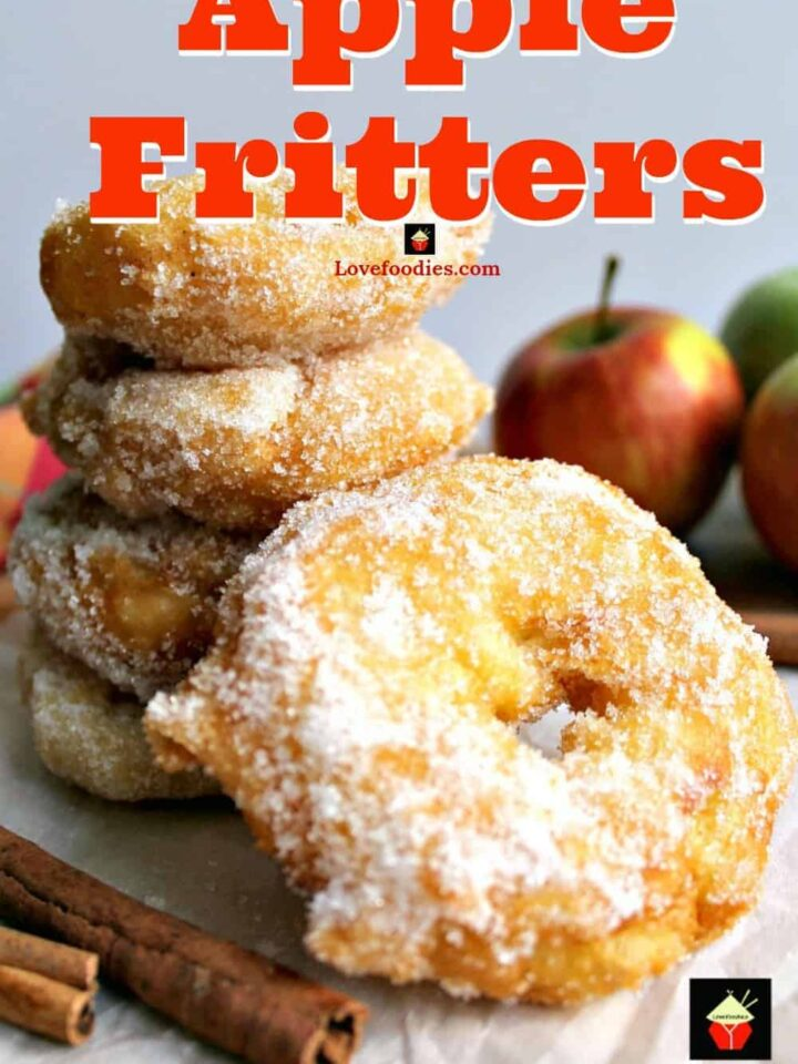 Apple Fritters. Yum! Slices of apple in a crispy light batter then coated in cinnamon sugar. Served warm with a drizzle of syrup, honey or a blob of ice cream.. makes for a perfect dessert! Quick and easy recipe too!