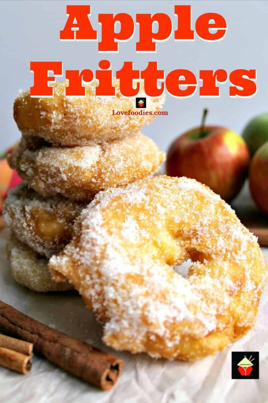 Apple Fritters. Delicious apple rings in a crispy light batter, coated in cinnamon sugar. Serve warm with a drizzle of syrup or ice cream. A perfect, quick & easy dessert