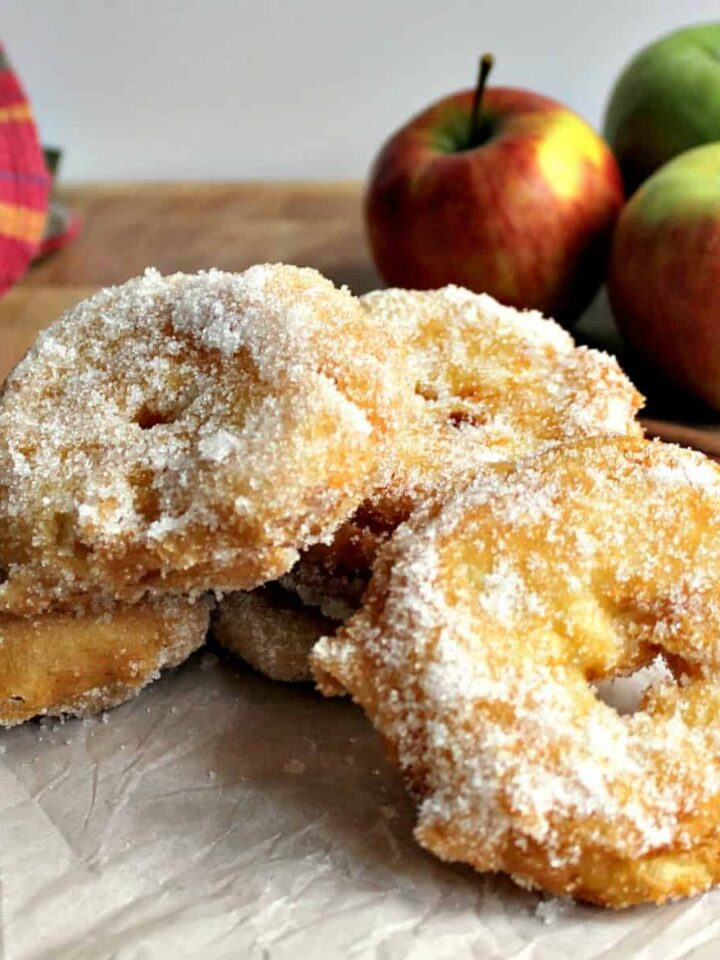 Easy Homemade Apple Fritters. Delicious apple rings in a crispy light batter, coated in cinnamon sugar. Serve warm with a drizzle of syrup or ice cream. A perfect, quick & easy dessert