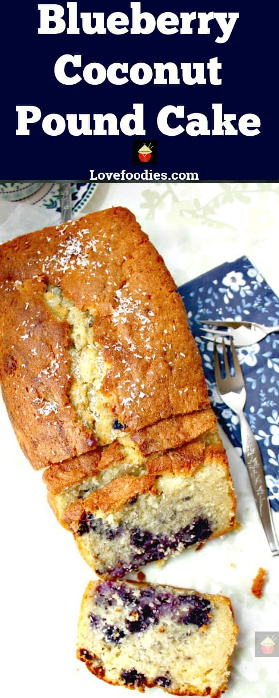 Blueberry Coconut Pound Cake, a deliciously soft coconut cake with a sprinkling of juicy blueberries.