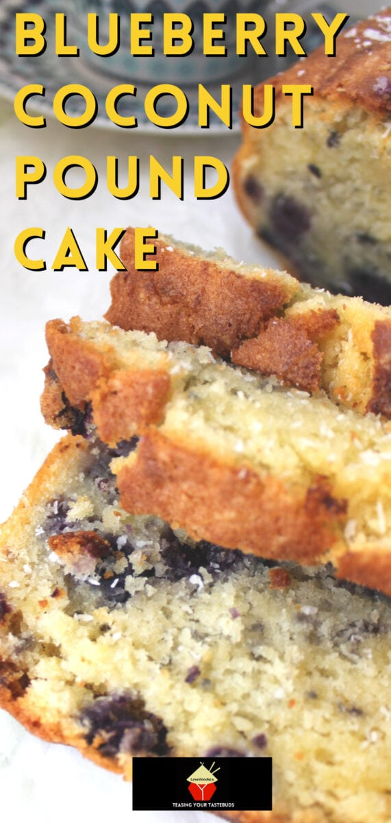 Blueberry Coconut Pound Cake. A deliciously soft coconut cake with a sprinkling of juicy blueberries, made from scratch and really easy recipe