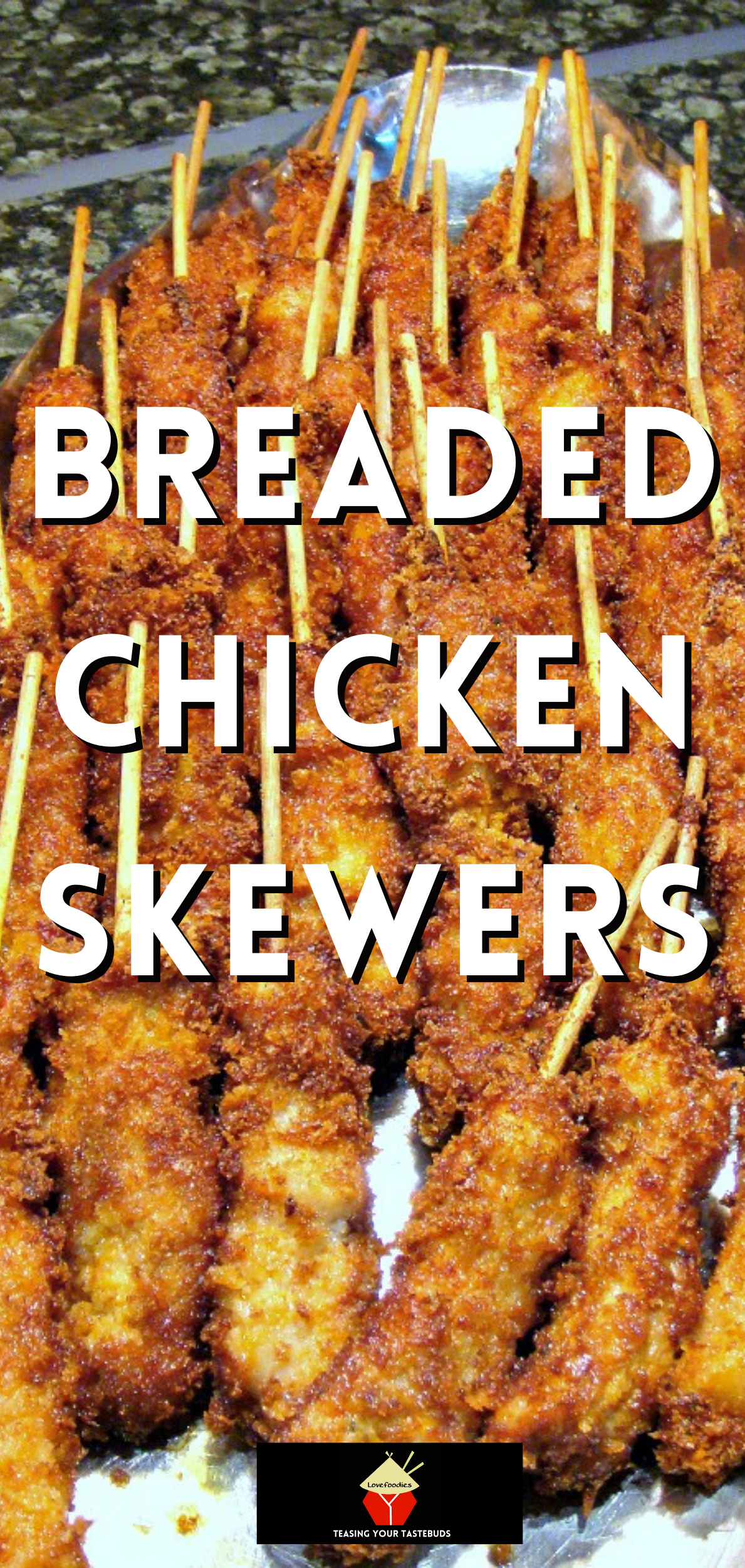 Breaded Chicken Skewers. These are a wonderful little appetizer or party food. Quick and easy to make and juicy to the bite too! Serve warm with your favorite dips. These always go fast at parties so be sure you make plenty!