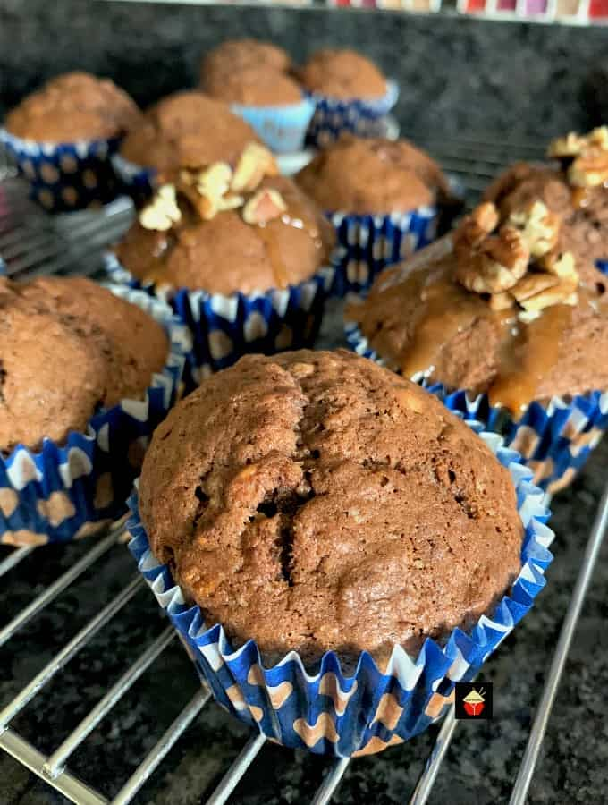 Chocolate Banana Muffins With a Caramel Drizzle Topping. Fluffy, soft and packed with bananas and chocolate. Perfect for breakfast, brunch or snack time.