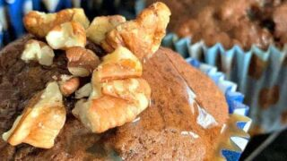 Chocolate Banana Muffins With Caramel Drizzle Topping