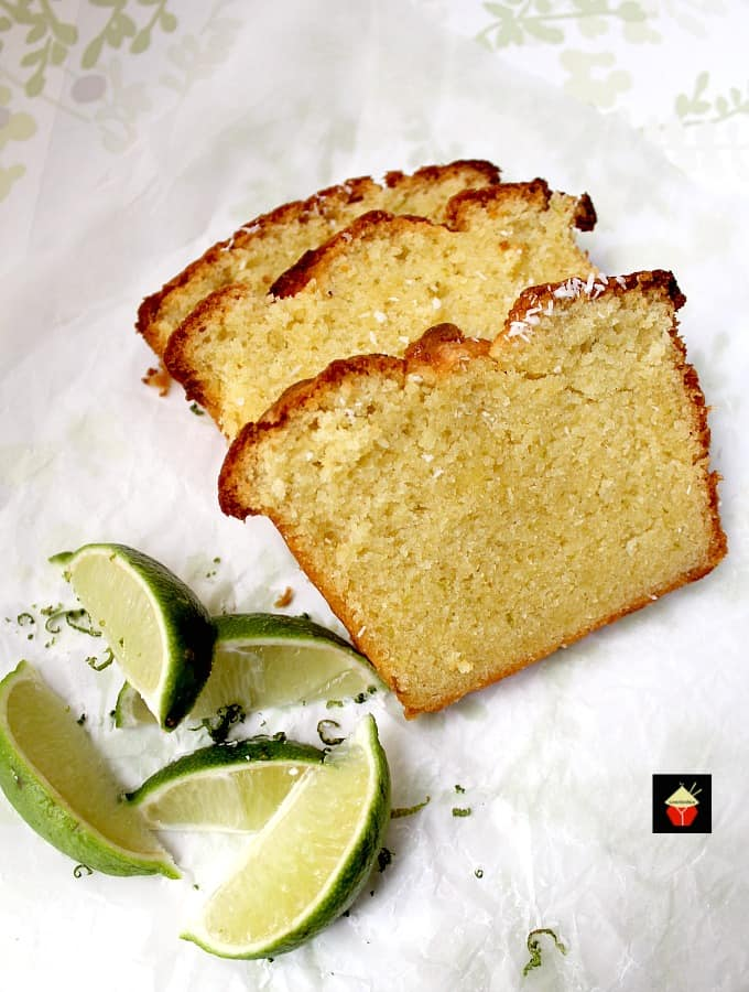 Coconut and Lime Pound Cake, a deliciously soft coconut cake with a splash of tangy lime.