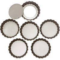 Webake 4 Inch Mini Tart Pan Set of 6, Non-Stick Quiche Pan Removable Bottom Mini Tart Tins