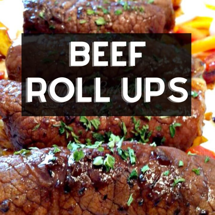 Beef Roll Ups. Delicious tender pieces of beef wrapped around cheese and vegetables, and coated in a lovely Balsamic Glaze. A really quick and easy recipe too