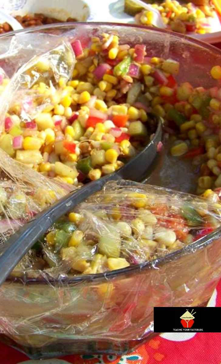 Corn and Cucumber Picnic Salad. A very simple yet great-tasting salad with an easy salad dressing recipe too. Perfect for the holidays!