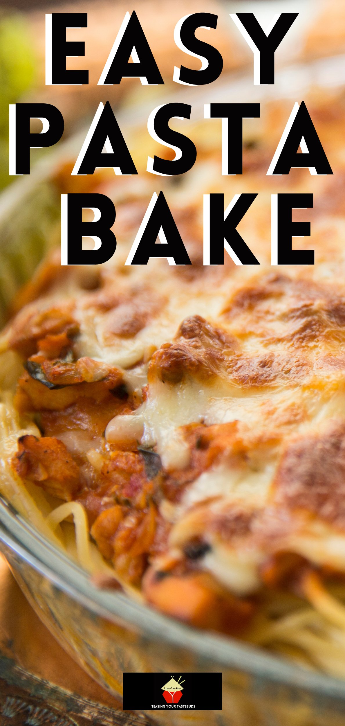 Easy Pasta Bake. A quick and easy dinner, loaded with cheese, ground beef, pasta and baked in a delicious tomato sauce.