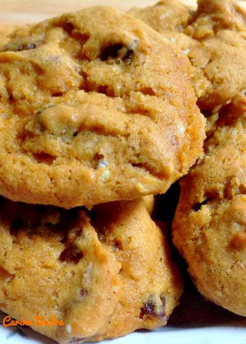 Pumpkin Cookies. Delicious cookies with pureed pumpkin and chocolate chips make for a popular snack with a cold glass of milk! Be sure you make up plenty!