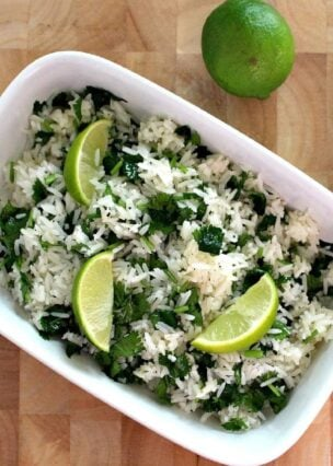 Garlic and Lime Cilantro Rice. A wonderful refreshing side dish using simple fresh ingredients and always popular!