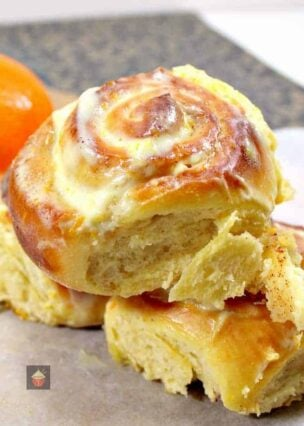 Orange and Cinnamon Swirly Bread, made from scratch, easy recipe. Soft, sticky, creamy, rolls, perfect for the holiday season, Thanksgiving and Christmas.
